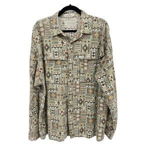 Guess Georges Marciano USA Mens Sz 4, XL Aztec Brown L/S Button Front Shirt VTG